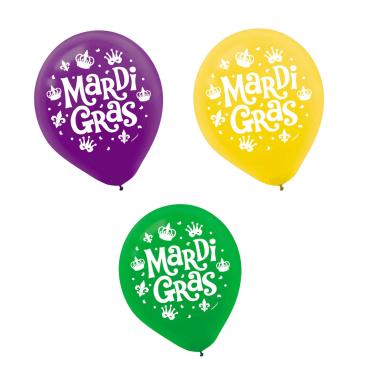 Mardi Gras 30cm Assorted Latex Balloons