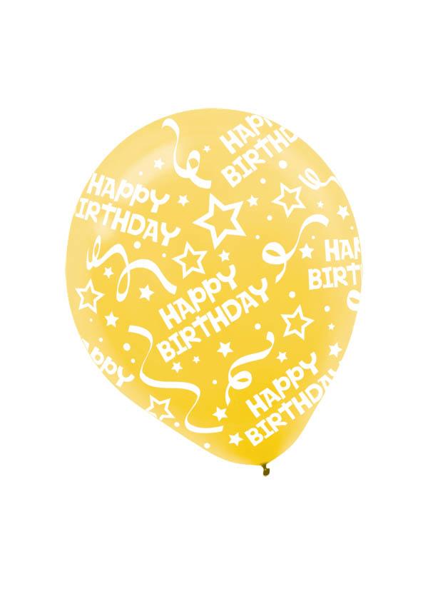 30cm Latex Balloon  Birthday Yellow