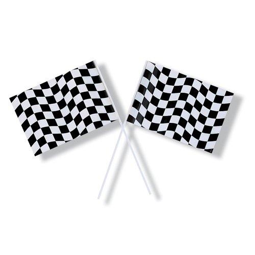 Black & White Check Flag Plastic 15cm x 24cm