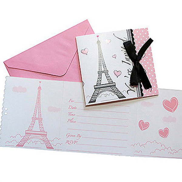 Party in Paris Invitations Gatefold & Ribbon 12cm x 12cm