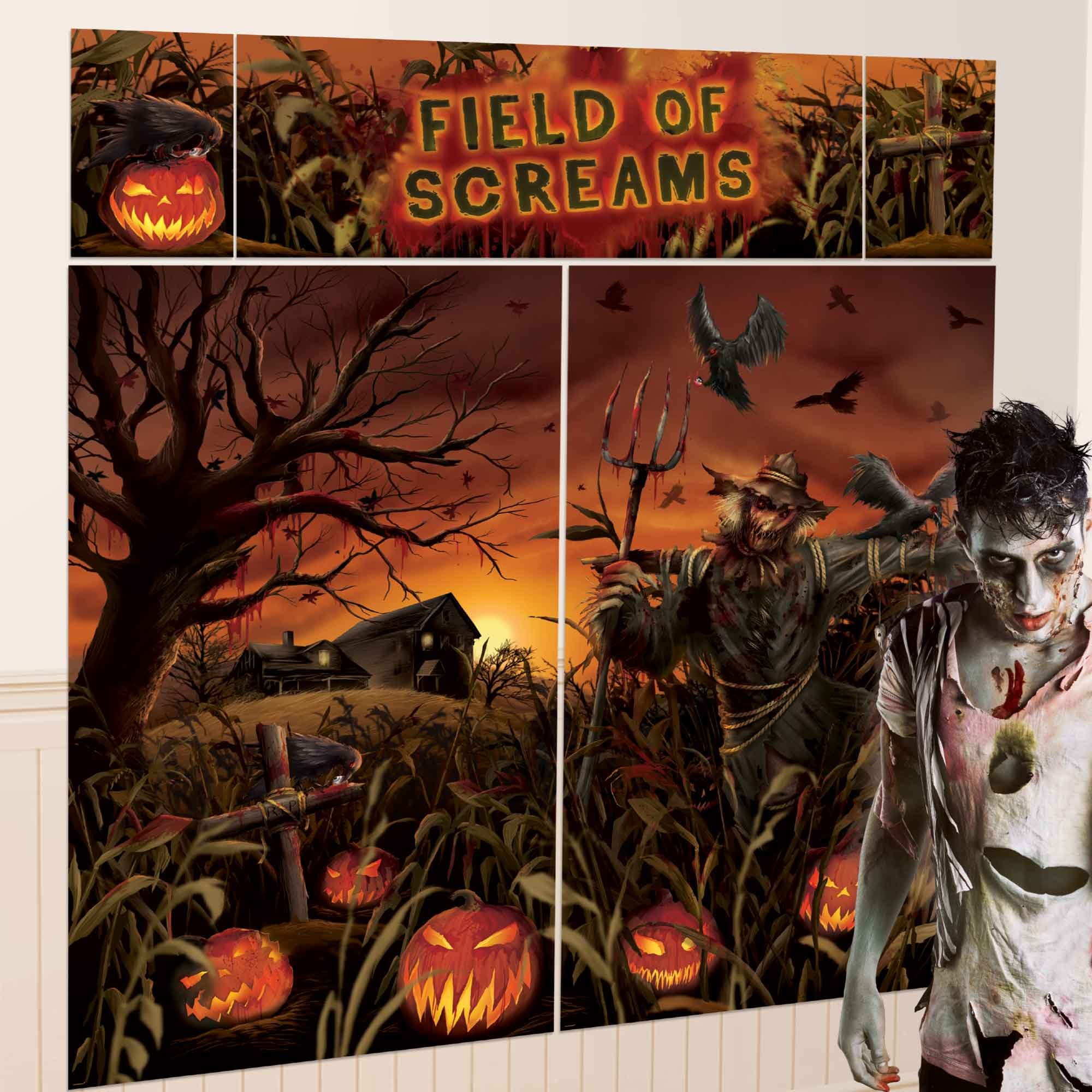 Field of Screams Pumpkins Scene Setters Wall Decorating Kit Plastic