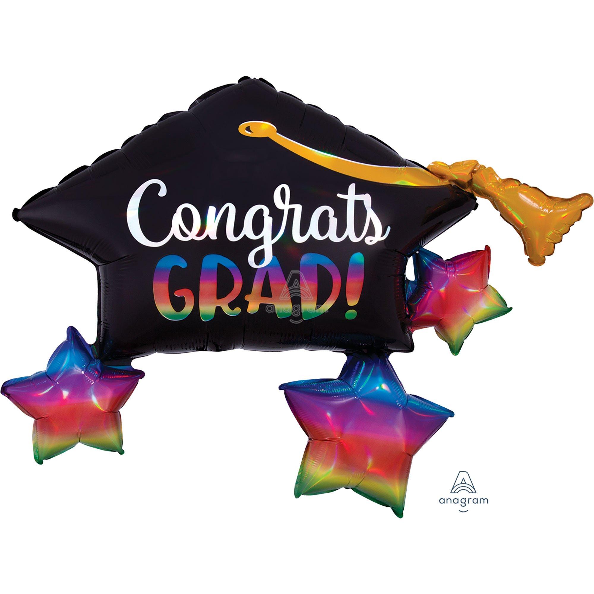 SuperShape Holographic Iridescent Congrats Grad Cap & Stars P40