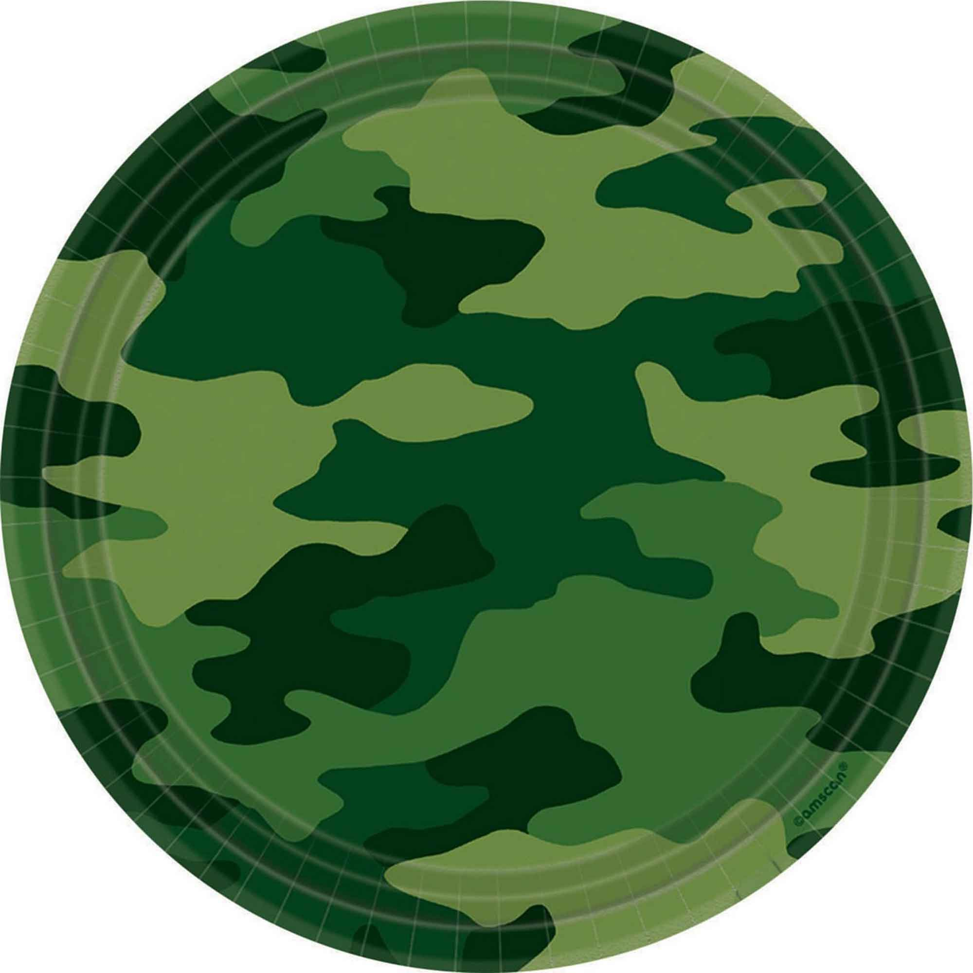 Camouflage 23cm Round Plates