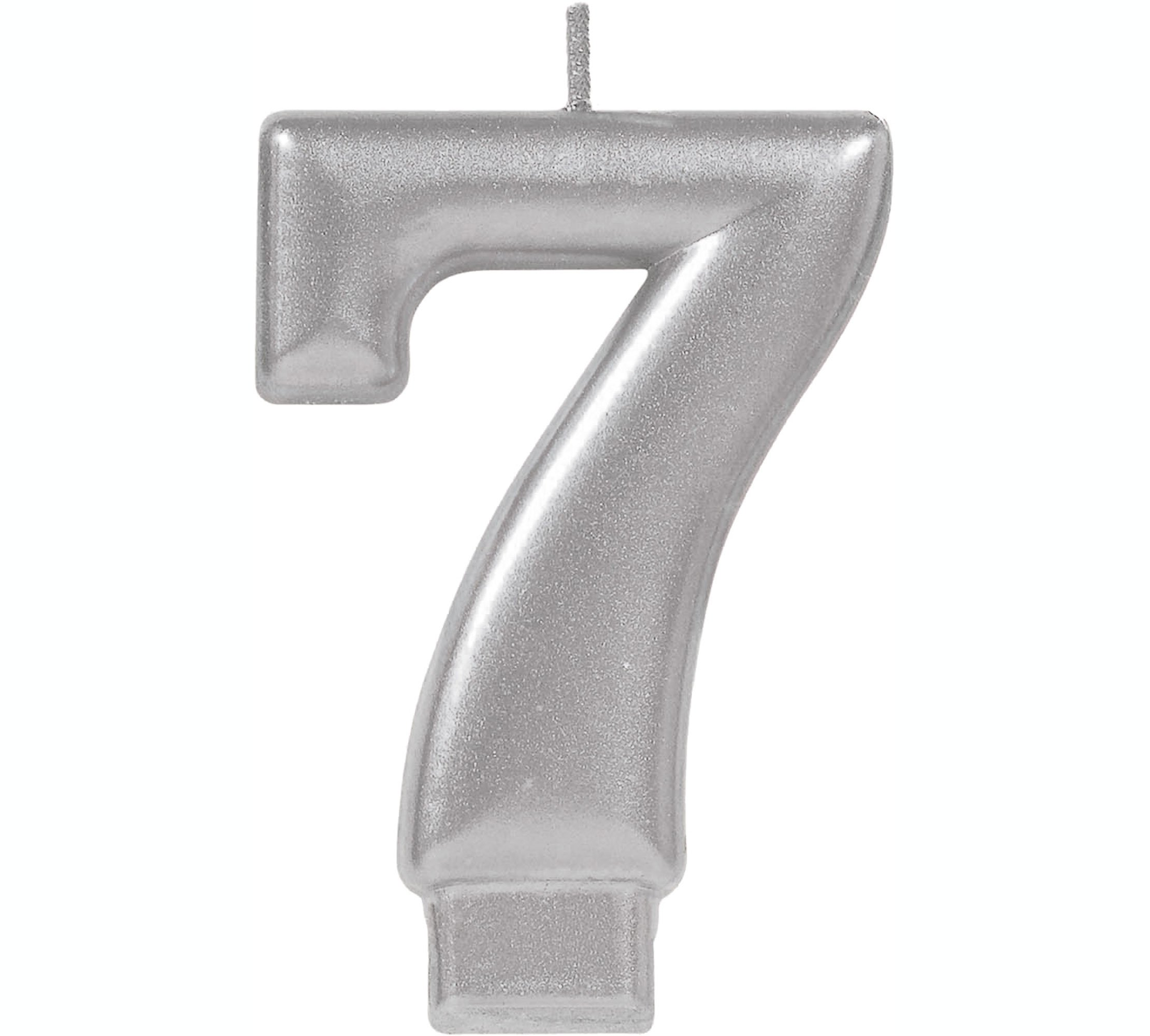 #7 Silver Metallic Numeral Moulded Candle