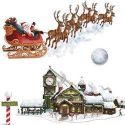 Cutout Props Santa's Sleigh & Workshop