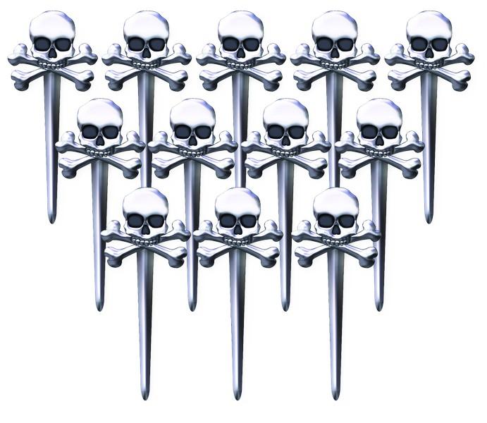 Skull & Crossbones Party Picks Clear Plastic