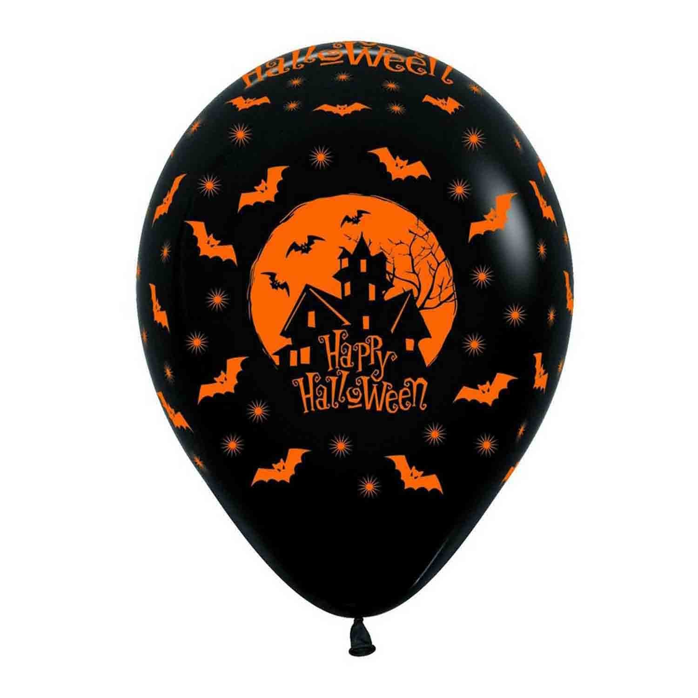 Sempertex 30cm Fashion Halloween Night Black/Orange                             2 sided print