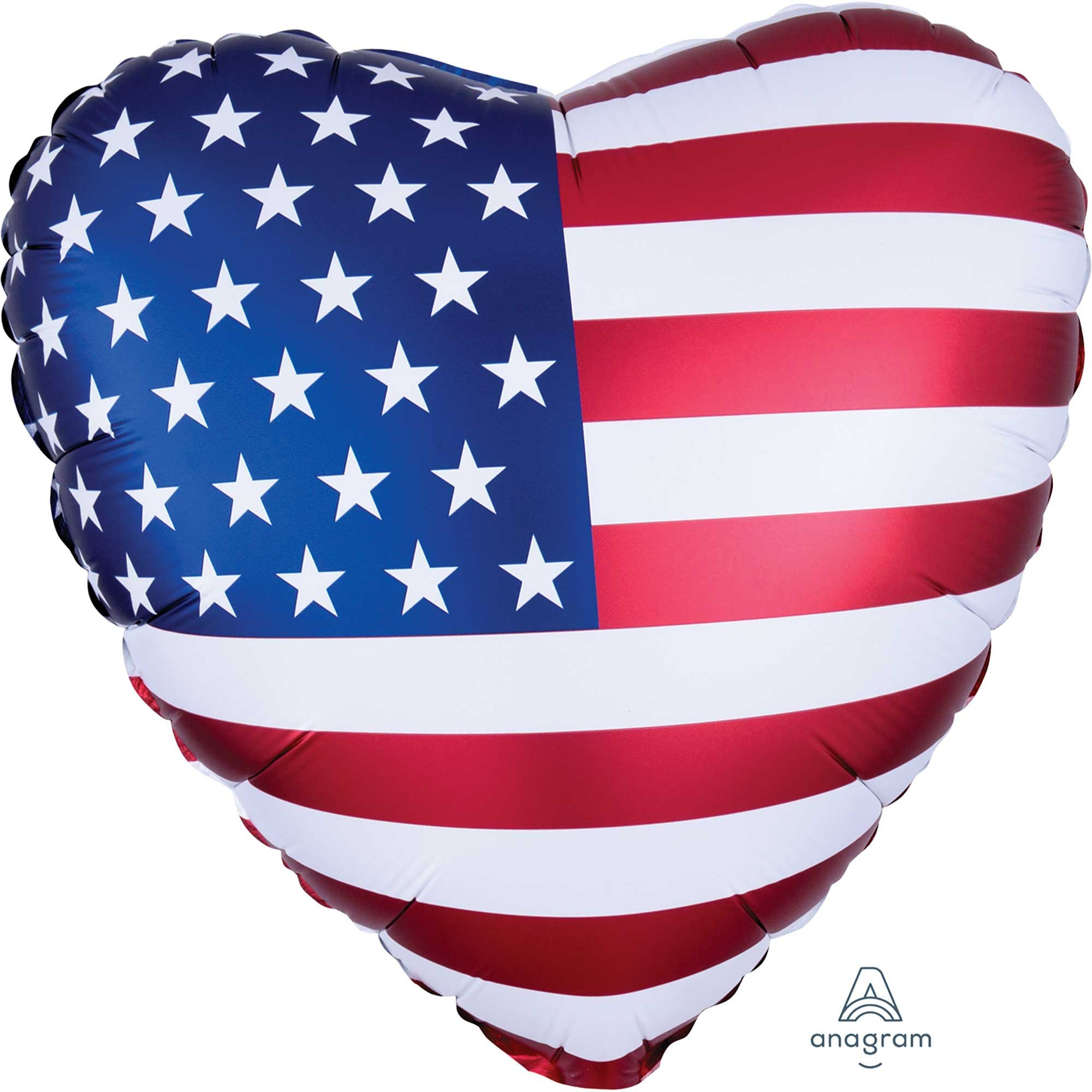 45cm Standard Satin XL Satin Infused Patriotic Heart Flag S40