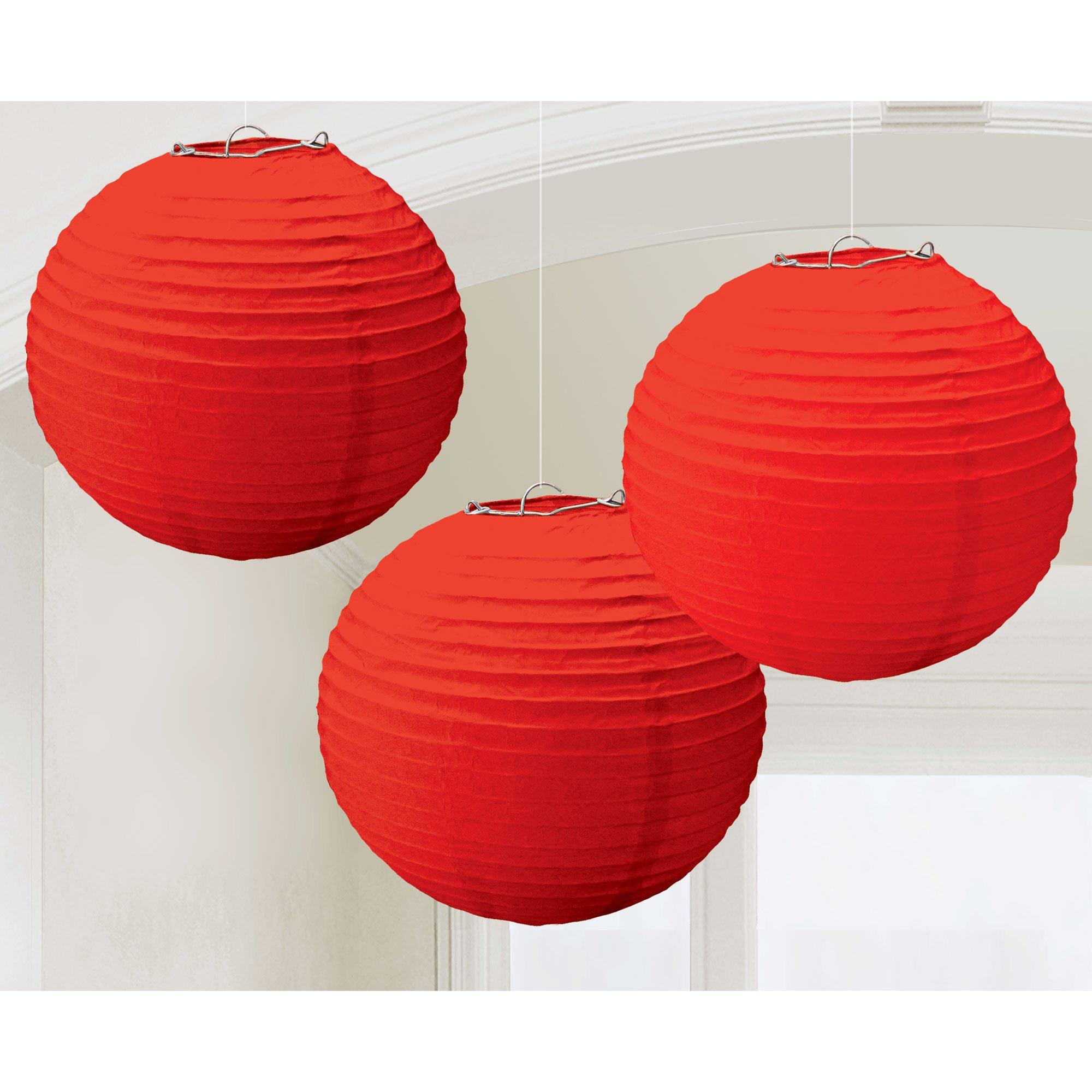 Round Paper Lanterns - Apple Red