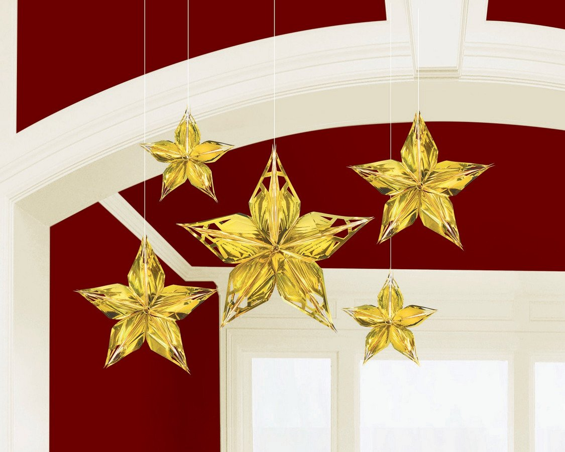 Glitz & Glam Metallic Gold Stars Hanging Decorations