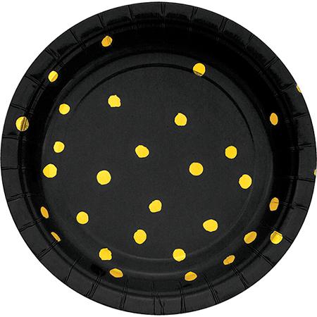 Touch of Colour Black Velvet & Gold Foil Dots Lunch Plates Paper