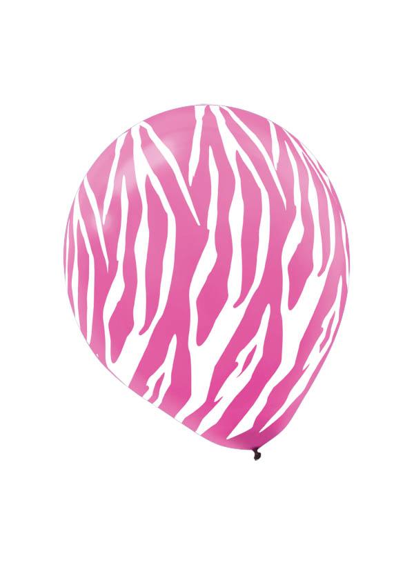 30cm Zebra Pink/White Latex Balloon
