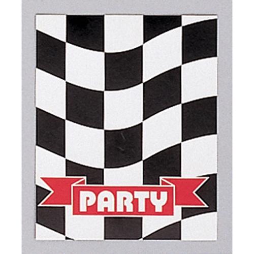 Black & White Check Invitations Foldover Style 10cm x 13cm