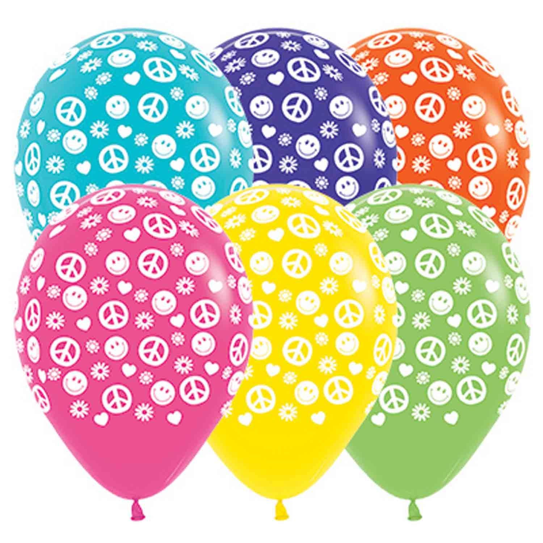 Sempertex 30cm Peace & Love Tropical Assorted Latex Balloons, 25PK