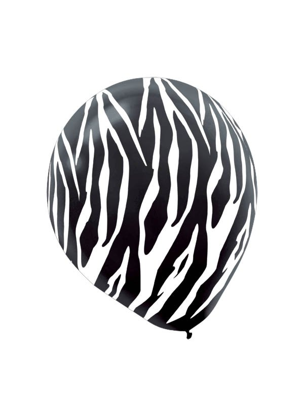 30cm Zebra Black 30cm Latex Balloon