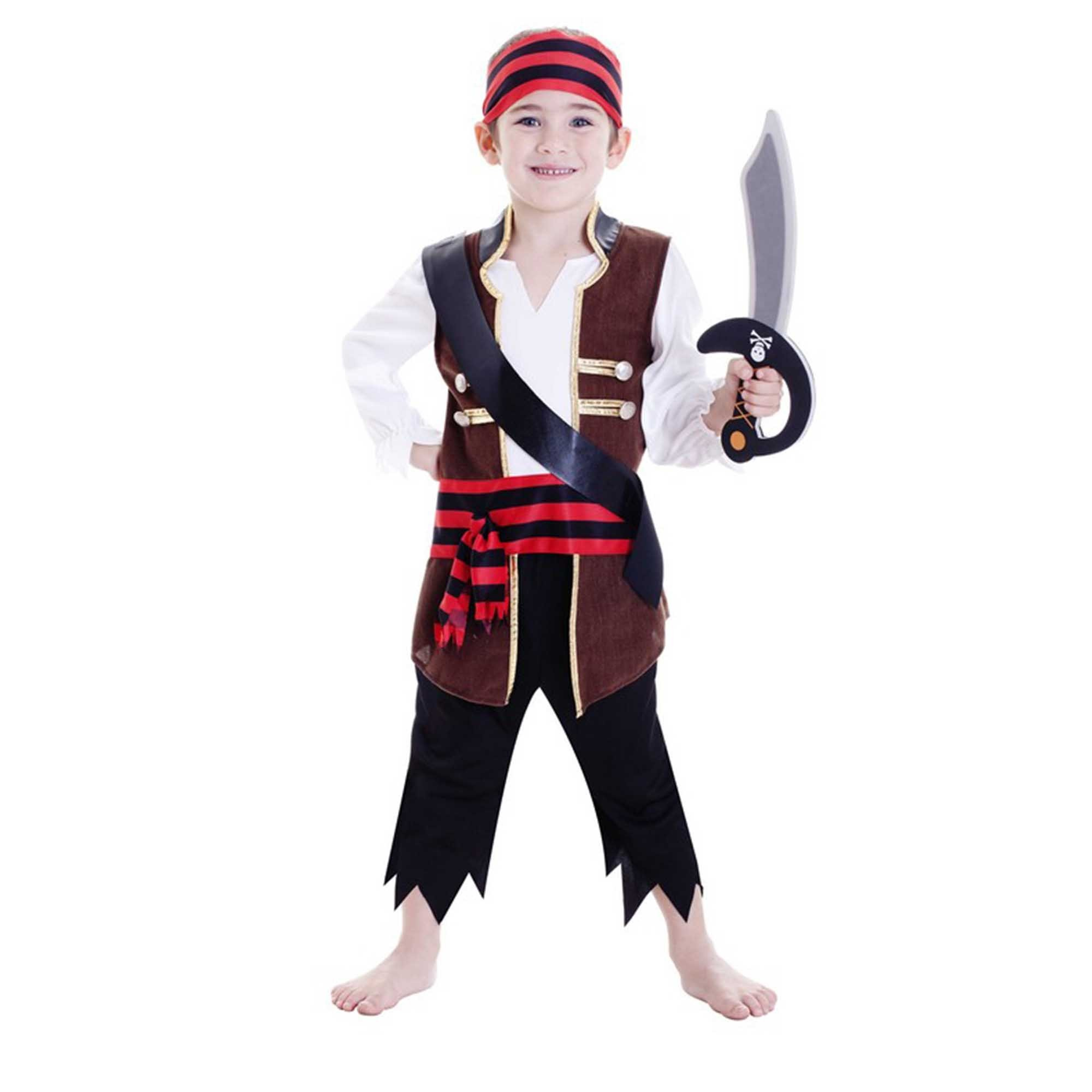 Deluxe Pirate Boy Costume (Large) 6-8 yrs