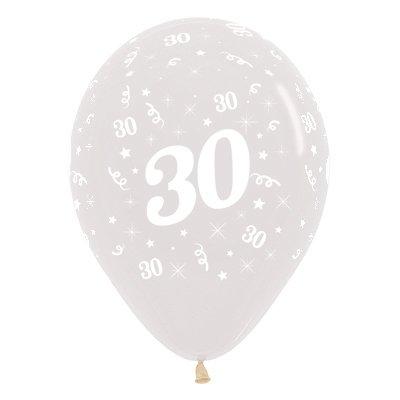 Sempertex 30cm Age 30 Crystal Clear Latex Balloons, 6PK