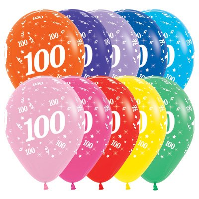 Sempertex 30cm Age 100 Fashion Assorted Latex Balloons, 25PK
