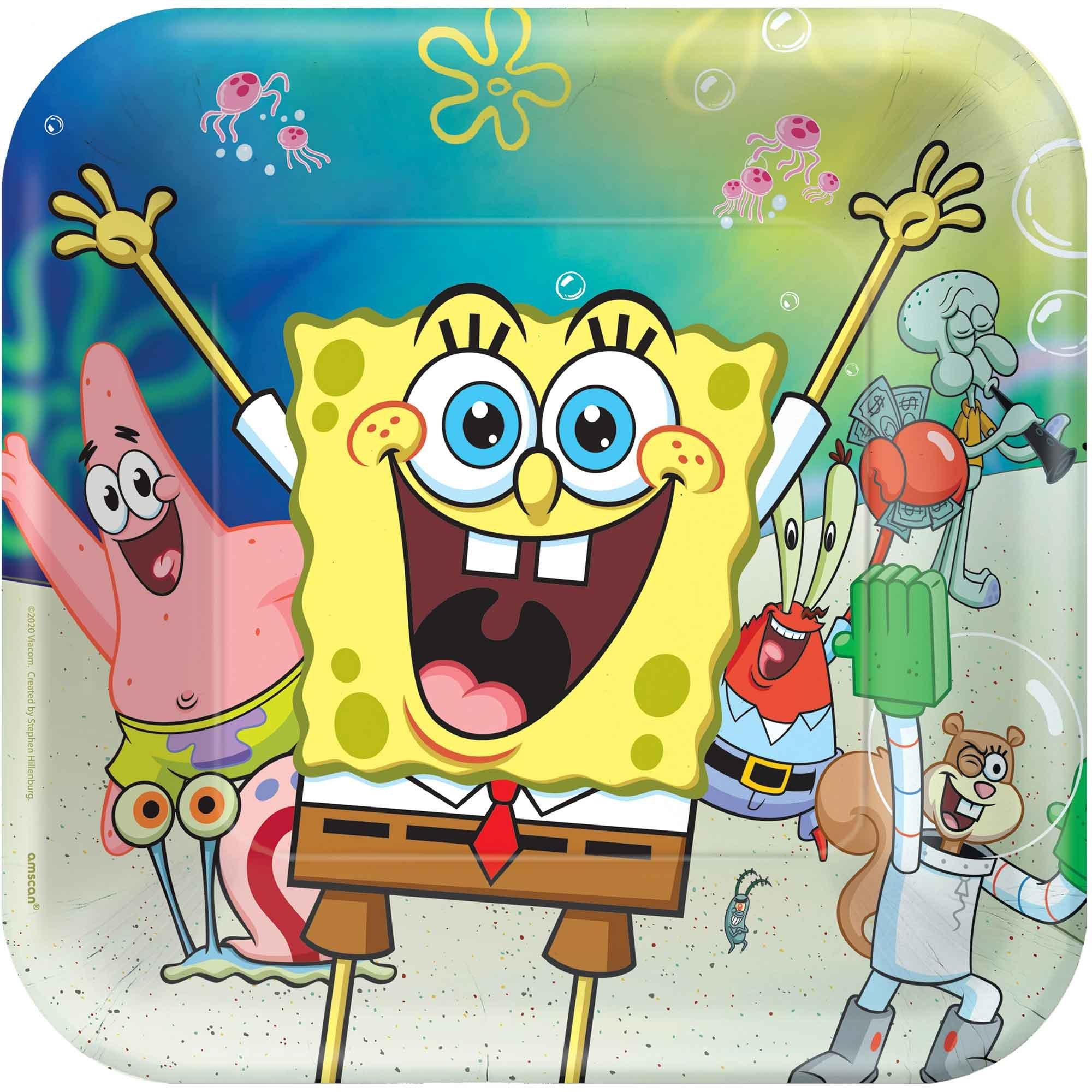 """SpongeBob 9"""" / 23cm Square Paper Plates"