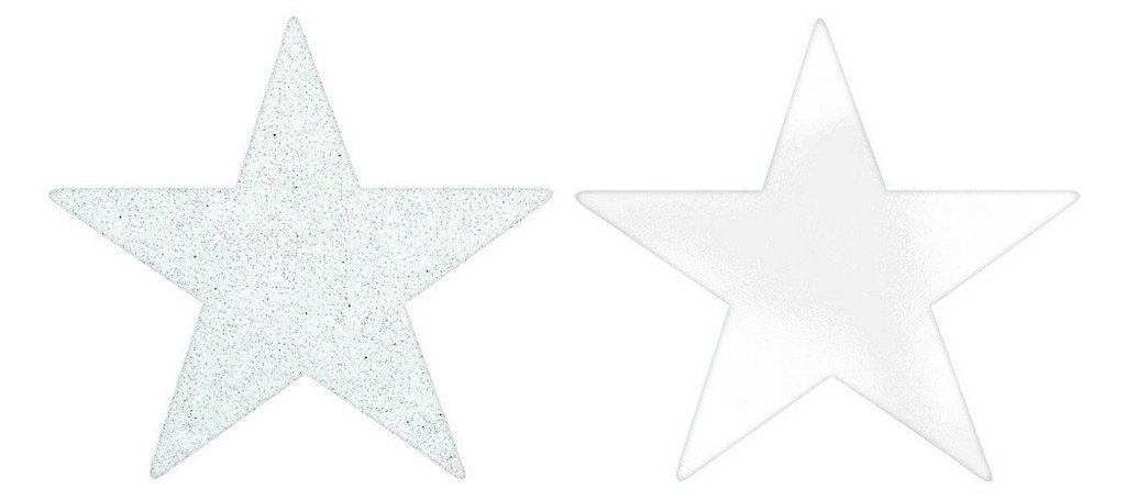 Solid Star Cutouts Foil & Glitter -  White