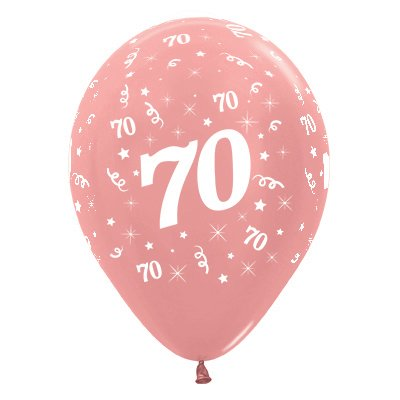 Sempertex 30cm Age 70 Metallic Rose Gold Latex Balloons, 25PK