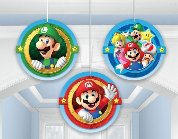 Super Mario Brothers Hanging Honeycomb Decorations