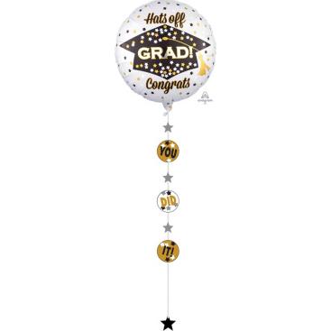 Jumbo Shape Holographic Drop-Line You Did It (Hats off Grad Congrats) P74
