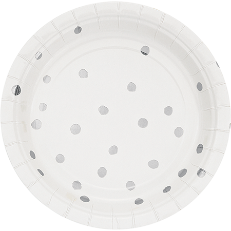 Touch of Colour White & Silver Foil Dots Lunch Plates Paper 18cm