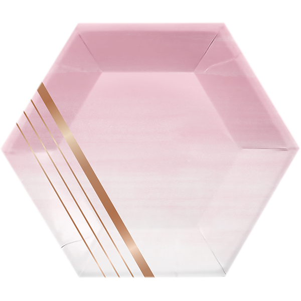 Rose All Day Lunch Plates Hexagonal Stripes Rose Gold Foil