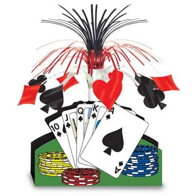 Casino Playing Cards & Poker Chips Cascade Centrepiece