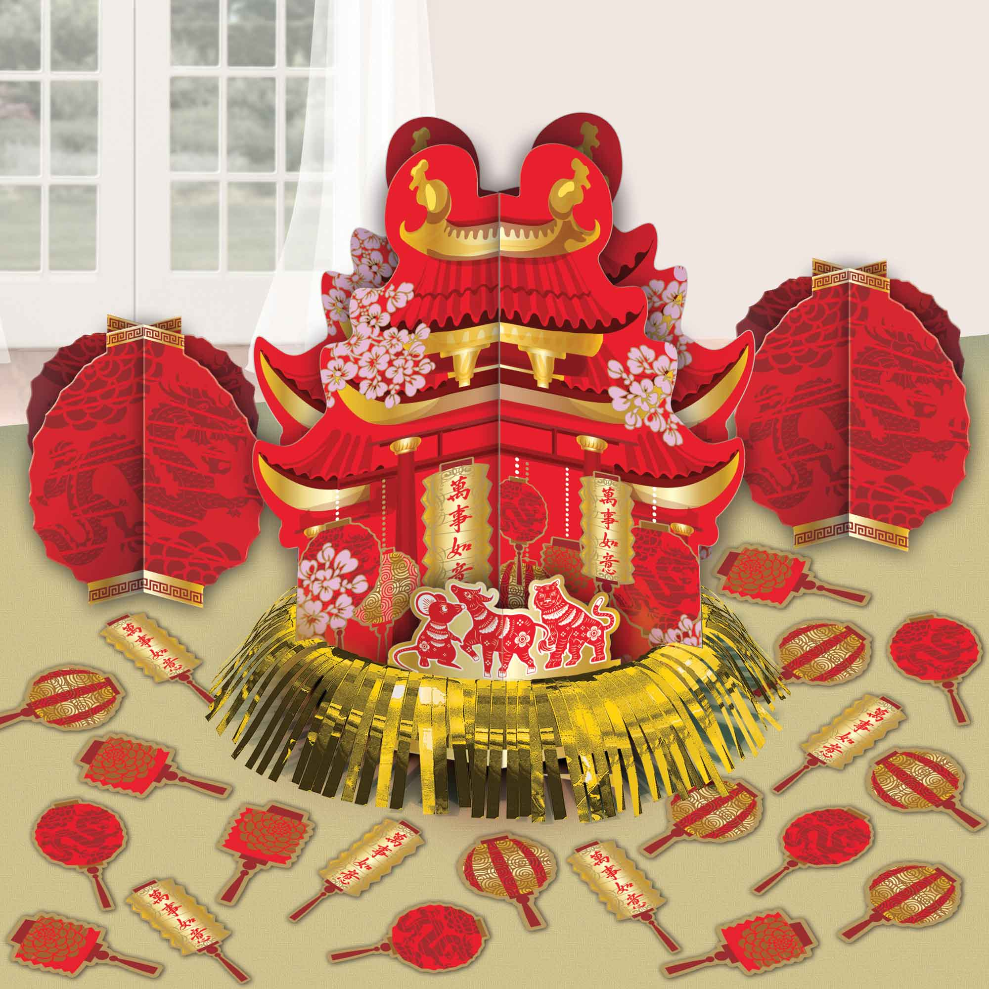 Chinese New Year Table Decorating Kit Foil Hot Stamped