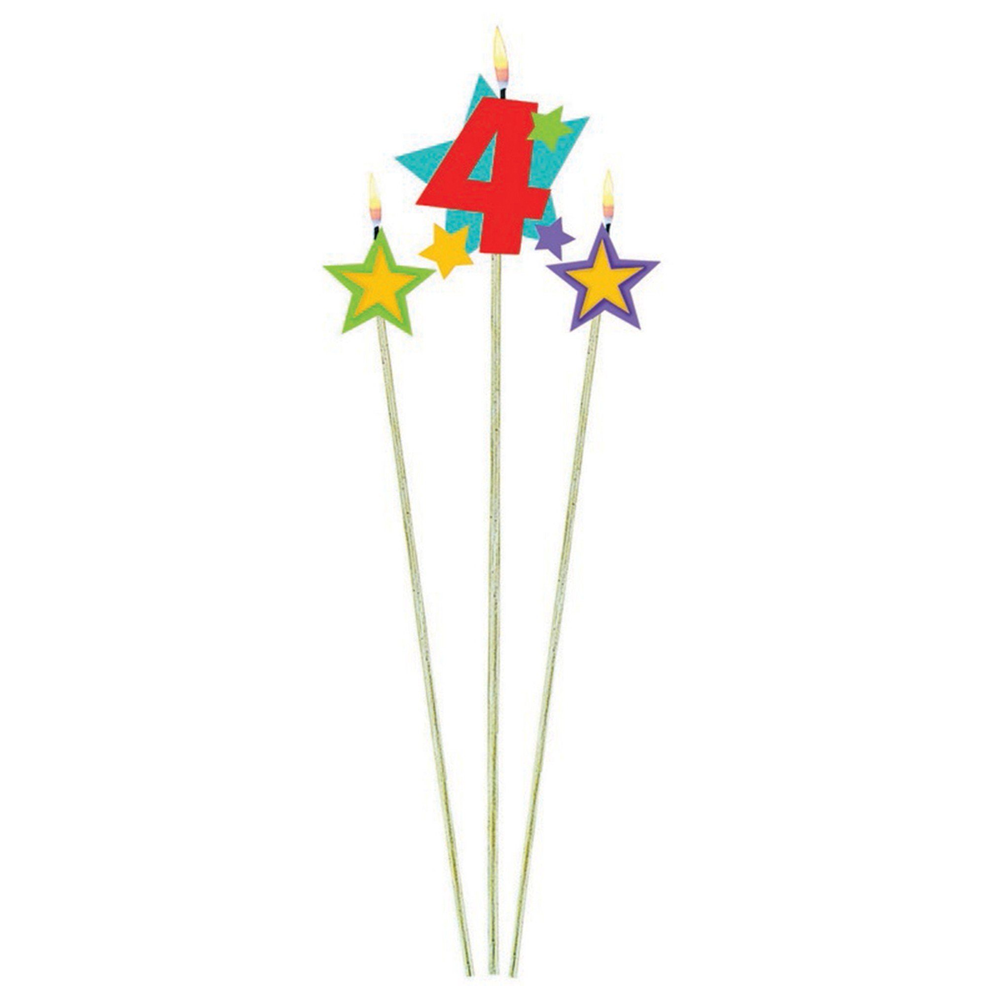 Numeral w/Stars Num. 4 Candle
