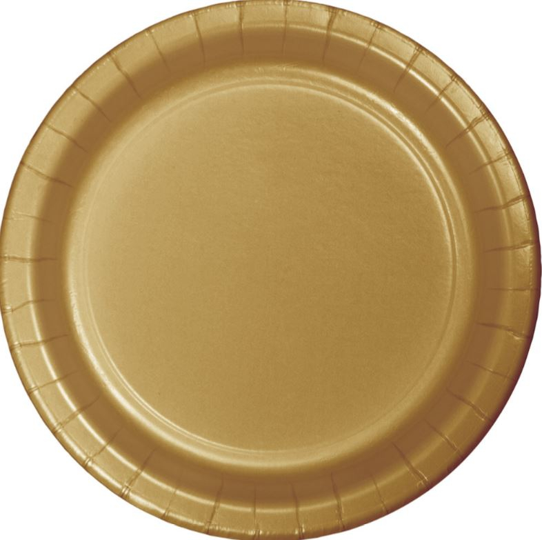 Glittering Gold Banquet Plates Paper 26cm