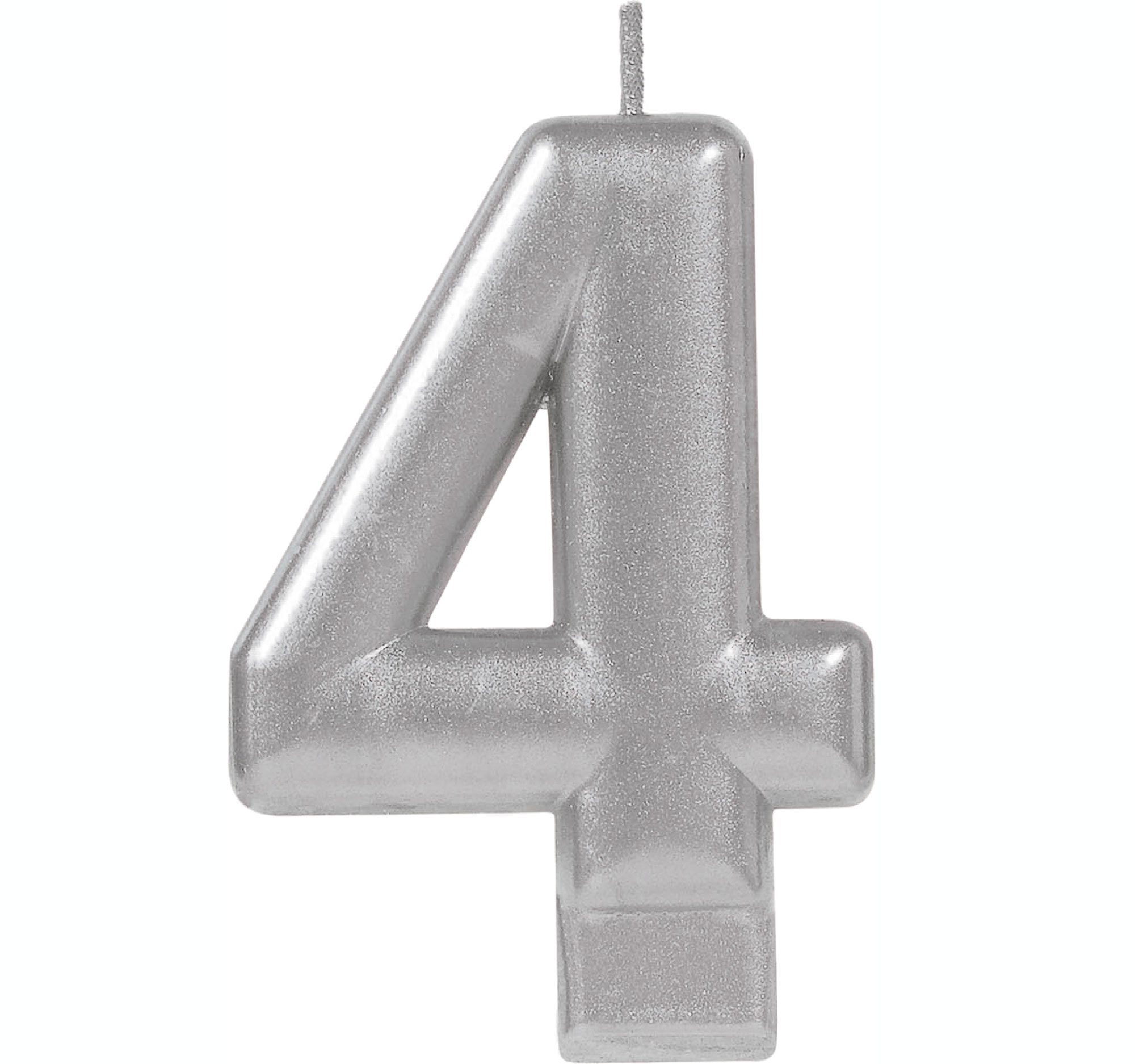 #4 Silver Metallic Numeral Moulded Candle