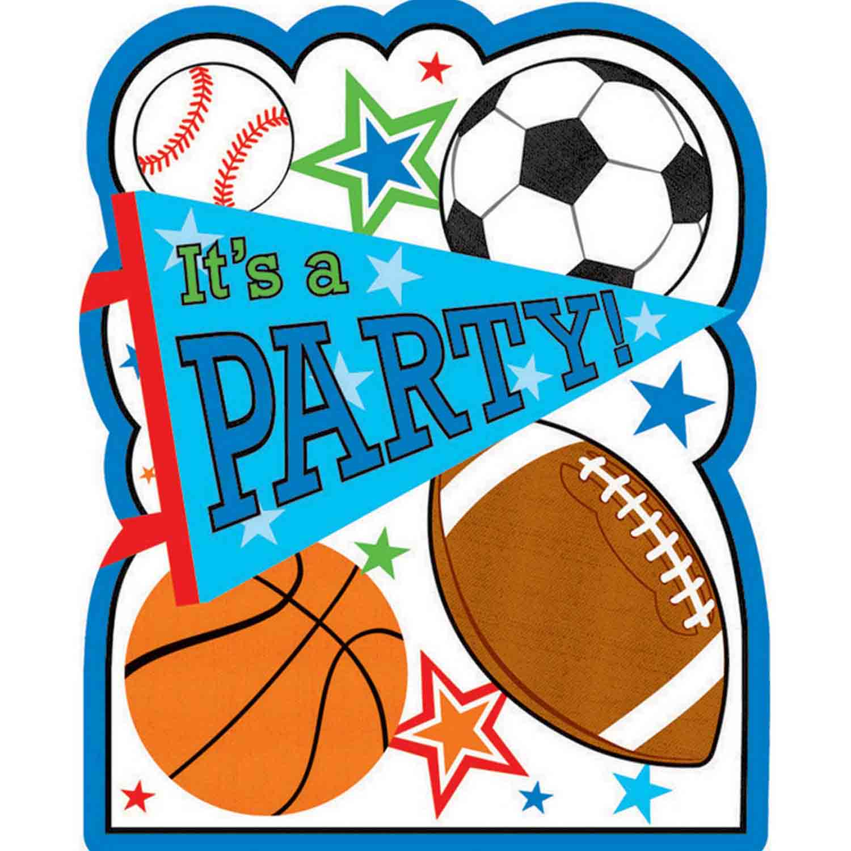 Sports Party Postcard Invitations