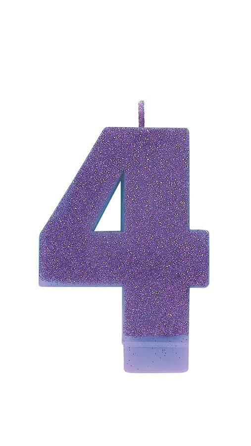 Candle Numeral Glitter #4 Purple