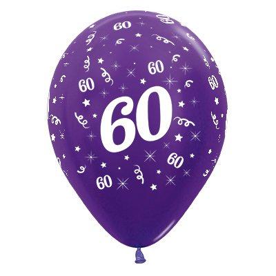 Sempertex 30cm Age 60 Metallic Purple Violet Latex Balloons, 25PK