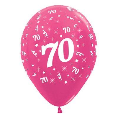 Sempertex 30cm Age 70 Metallic Fuchsia Latex Balloons, 6PK