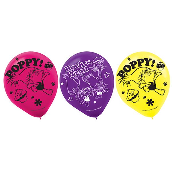 """Trolls 12""""/30cm Latex Balloon Asst Designs & Colours"