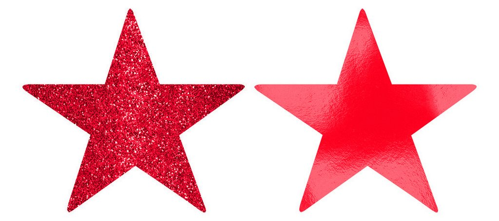 Solid Star Cutouts Foil & Glitter -  Apple Red