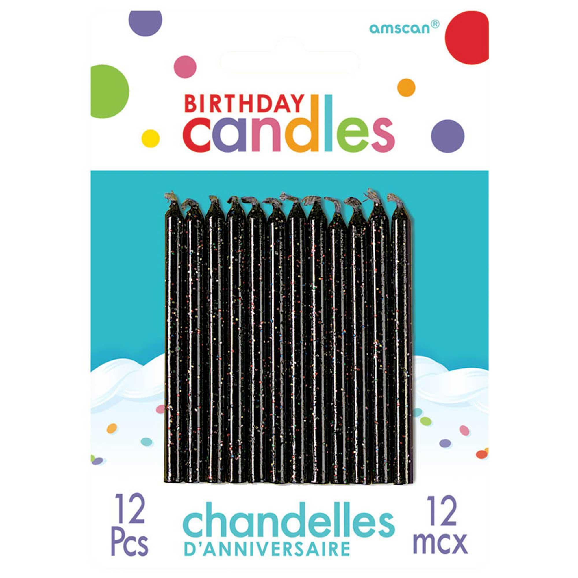 Birthday Candles Glitter Black