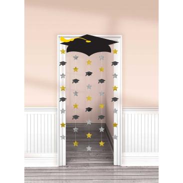 Grad Cap Doorway Curtain & Foil Cutouts Black, Silver & Gold