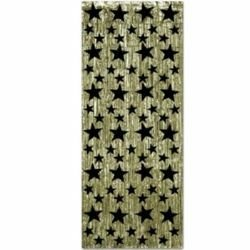 Gold with Black Stars Metallic Door Curtain