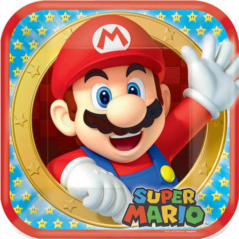 Super Mario Brothers 23cm Square Plates