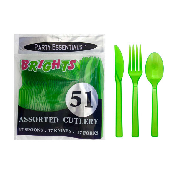 Plastic Cutlery Neon Green