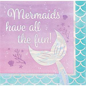 Mermaid Shine Iridescent Lunch Napkins Mermaids have all the fun