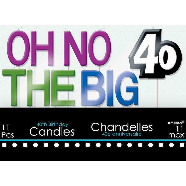 40th Birthday Celebration Candle Set