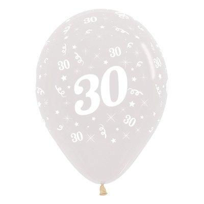 Sempertex 30cm Age 30 Crystal Clear Latex Balloons, 25PK