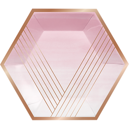 Rose All Day Banquet Plates Hexagonal Stripes Rose Gold Foil