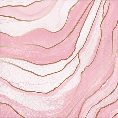 Rose All Day Lunch Napkins Geode Design Rose Gold Foil